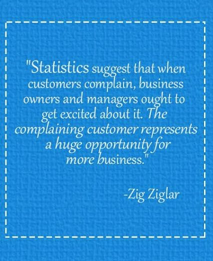 The complaining customer represents a huge opportunity for more business. #wednesdaywisdom   #quote   #customerservice   #complains   #business
