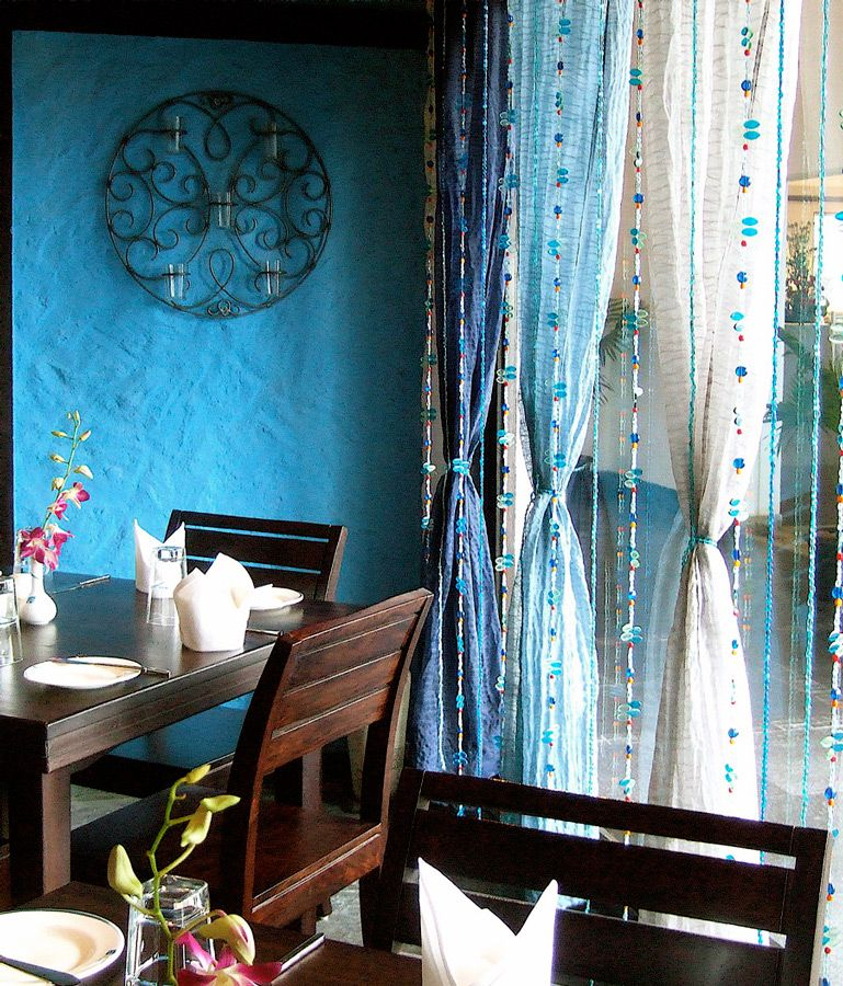 Curtain Cute Interior Home Decorating Ideas With Cafe: Blue Beads Curtain Amazing