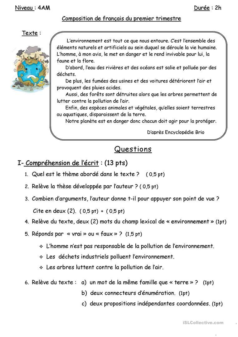 Compréhension De L Oral A2 La Pollution La Pollution Lecture Comprehension Ce1 Lecture Cm2