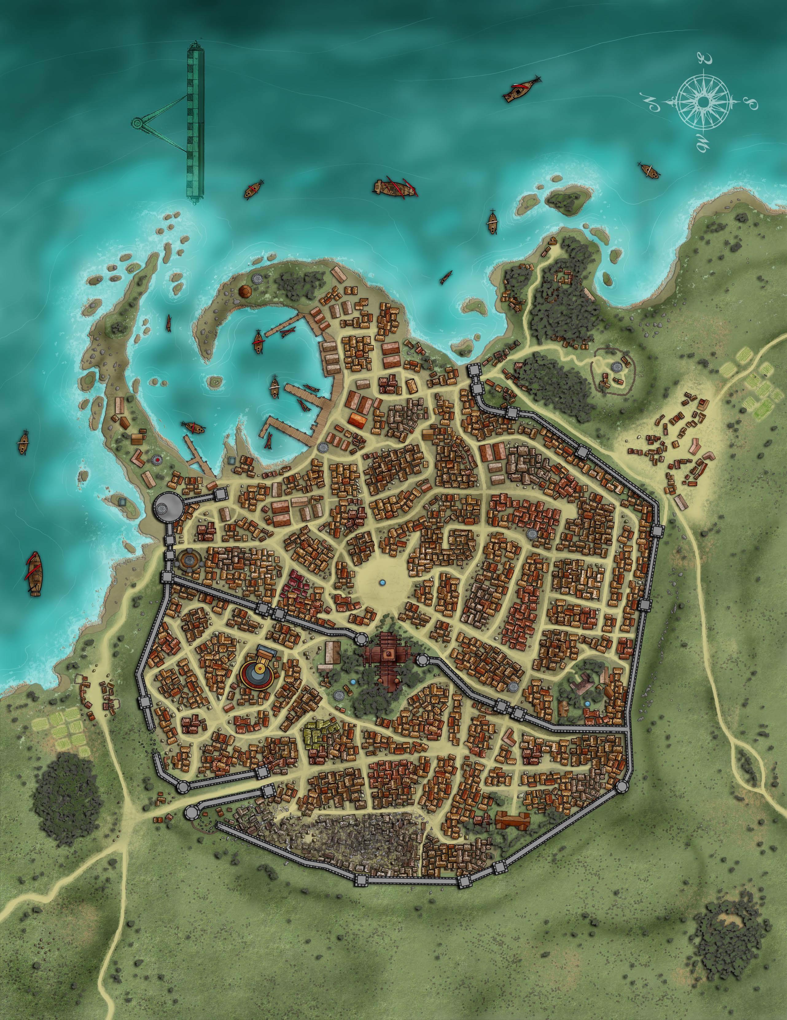 Town Castle Town Harbor Towns D D Maps Doomed Gallery Fantasielandschaft Kartographie Minecraft Mittelalter