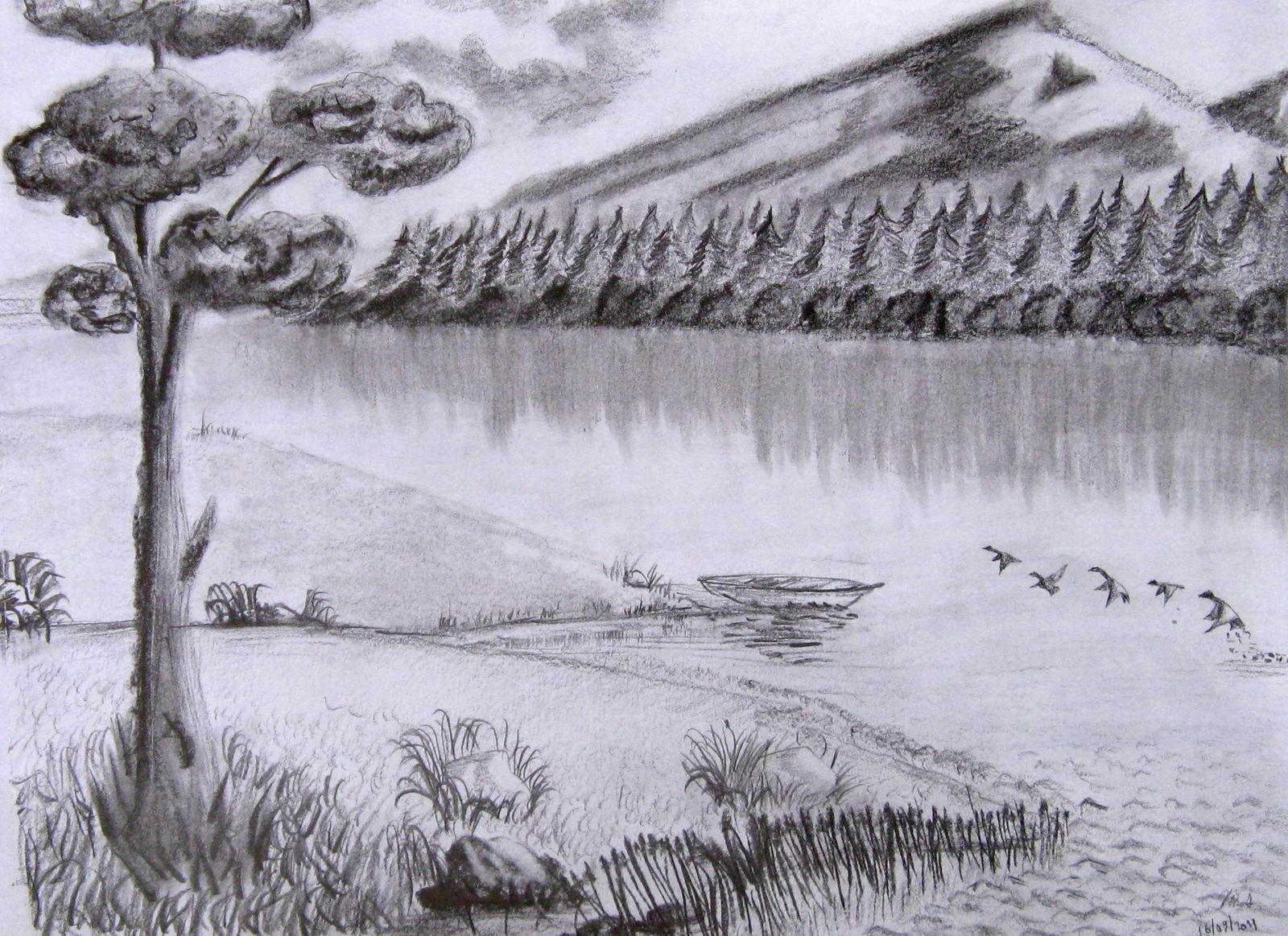 Karakalem Calismalari Manzara Kolay En Yeniler En Iyiler Manzara Sanat Egitimi Sanat