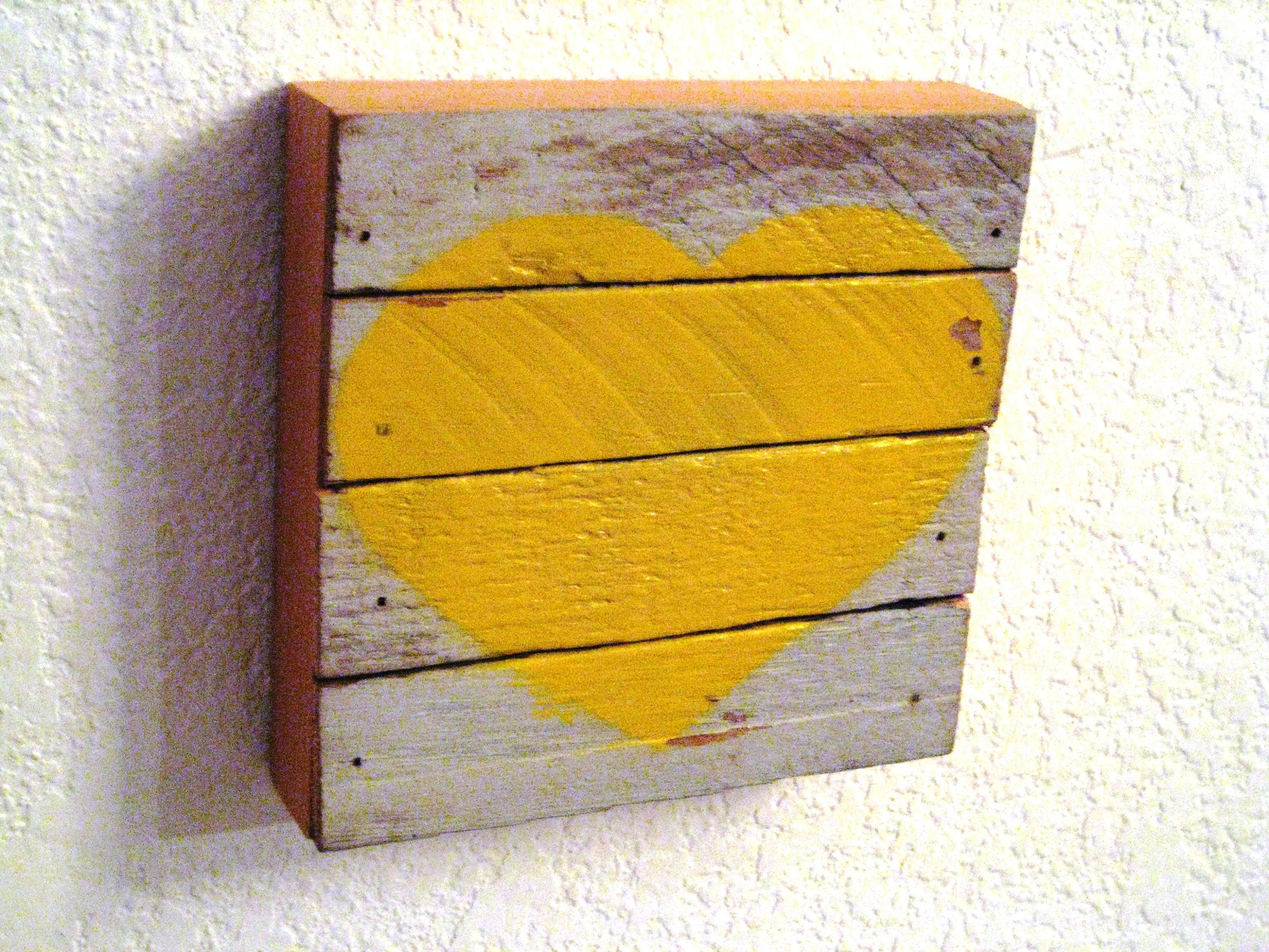 Yellow Heart,Valentine Heart,Reclaim Wood Heart,Rustic Heart ...