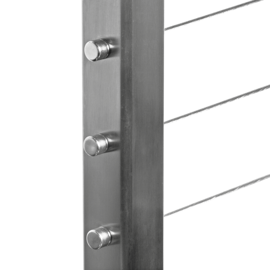 Cable Railing - Square Stainless Steel Terminal Drilled Post by Cable Railing Direct