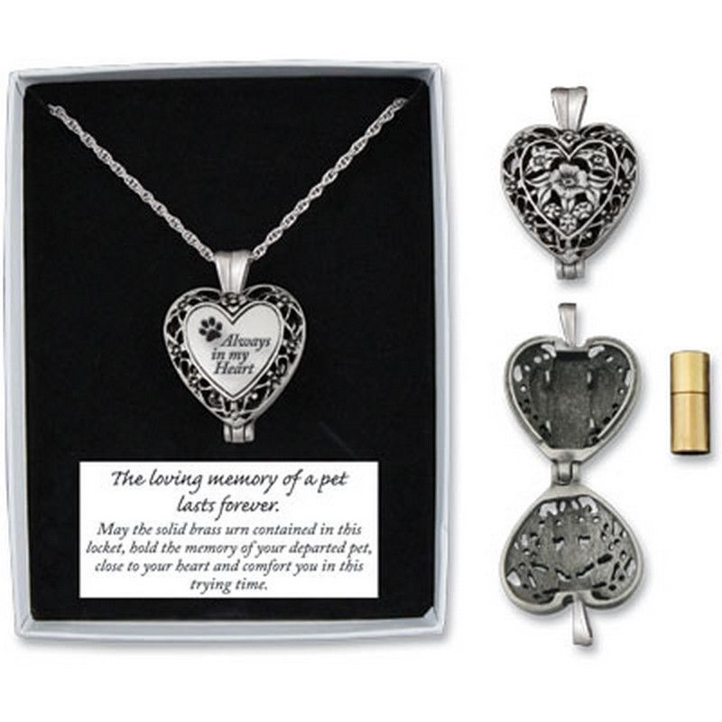 Memorial locket necklace always in my heart pet dog in loving memorial locket necklace always in my heart pet dog in loving memory ash urn new mozeypictures Choice Image