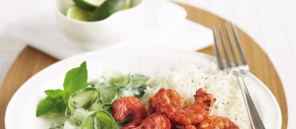 A quick prawn curry recipe with cooling mint raita.