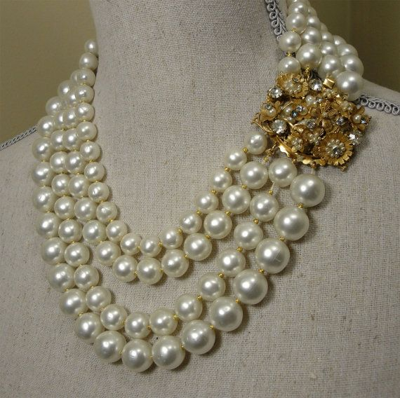 Vintage Haskell era DeMario baroque pearl multi strand necklace by EyeCandyAntiques, $225.00