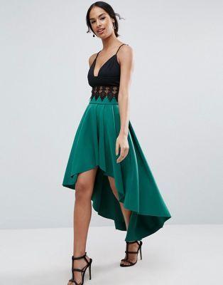 best selection of enjoy best price catch Scuba Midi Prom Skirt with Asymmetric High-Low Hem | Dresses ...