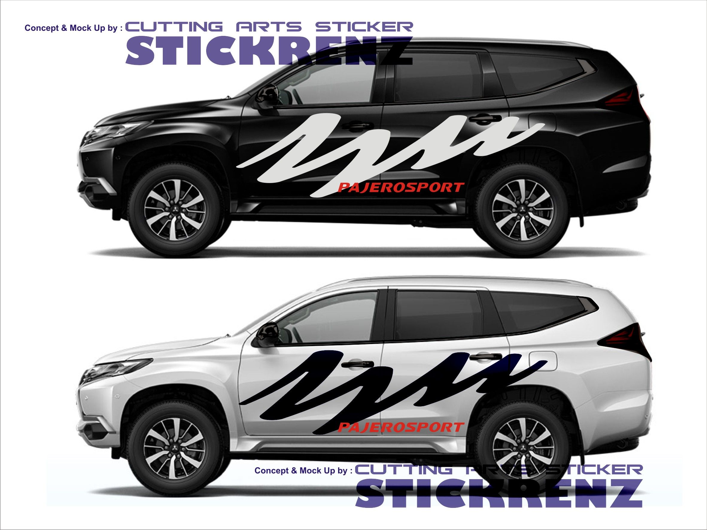 Car custom side cutting sticker concept pajero 007