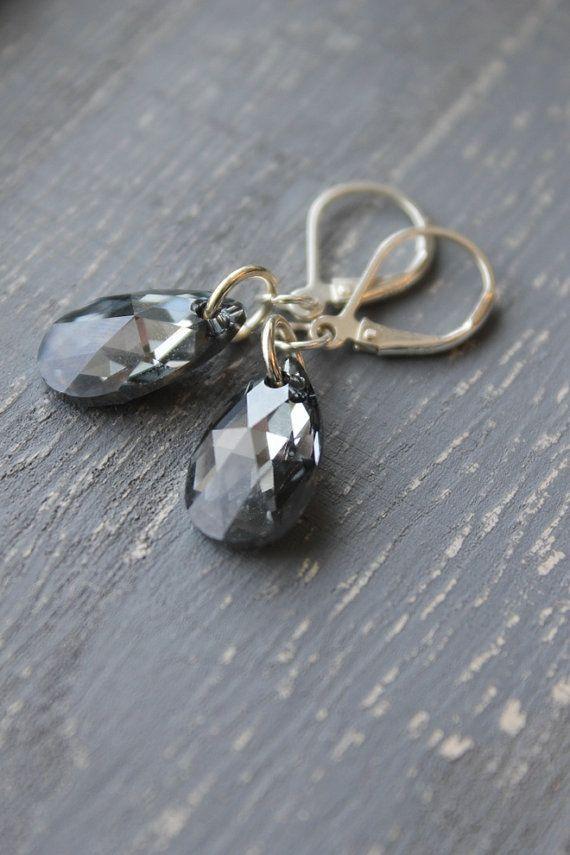 Silver Night Earrings Grey Crystal Earrings by nancywallisdesigns