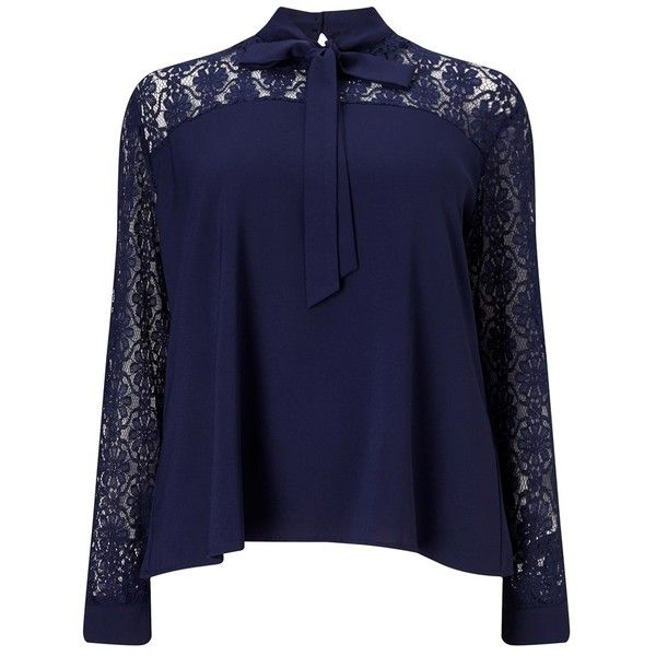 Fashion Union Curve Tie Neck Lace Insert Blouse ($34) ❤ liked on Polyvore featuring tops, blouses, neck-tie, tie neck top, tie neck tie, blue lace blouse and lace blouse