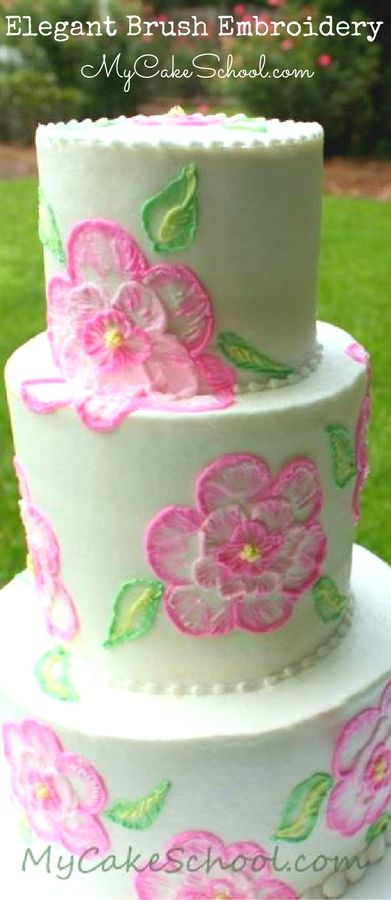 Elegant Buttercream Brush Embroidery A Cake Decorating Video Tutorial By MyCakeSchool Surprisingly Simple And Such Gorgeous Technique For Cakes