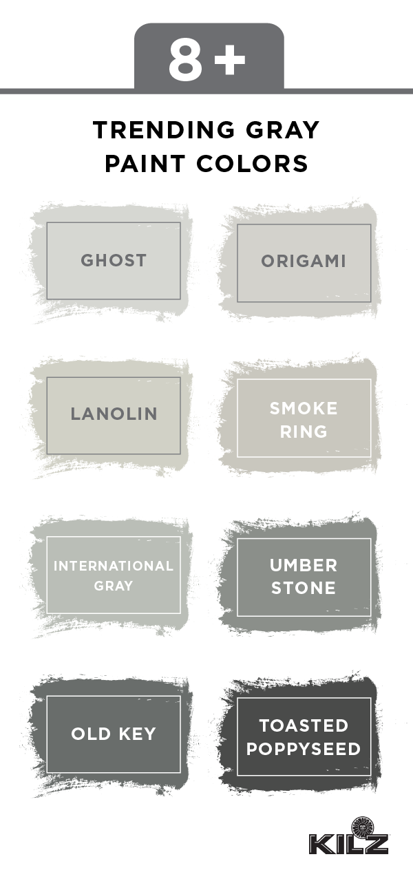 You Can T Go Wrong With This Collection Of Trending Gray Paint Colors Kilz Complete Coat Paint Primer In One Offers A Rang Kilz Paint Kilz Grey Paint Colors