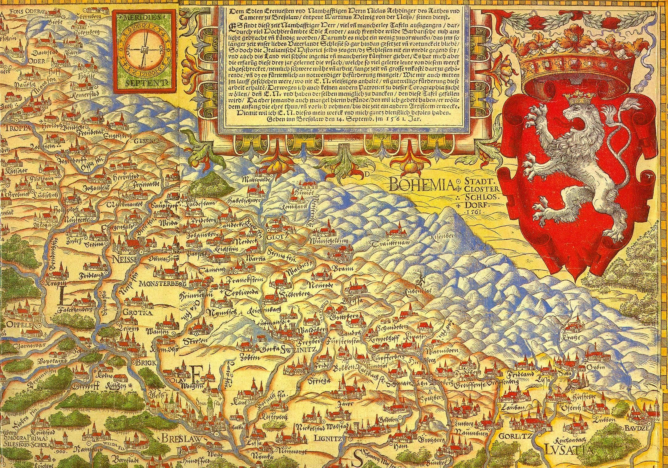Corner of Martin Helwig Silesia map