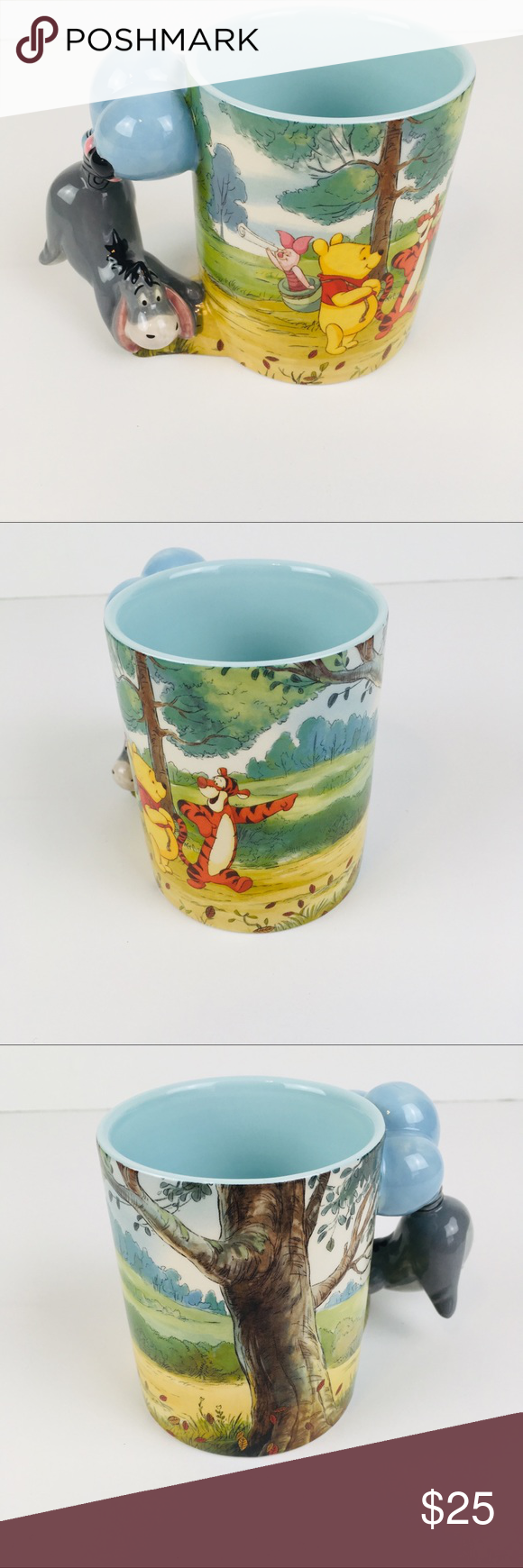 Disney Parks Winnie The Pooh Eeyore Handled Mug This is a coffee cup with a large Eeyore sculptured handle Also features Pooh, Tigger, and piglet Additional screen art elements Blue interior Holds 12 ounces Ceramic Excellent condition no chips or damage Bundle and save, offers welcome Disney Kitchen Coffee & Tea Accessories #disneykitchen