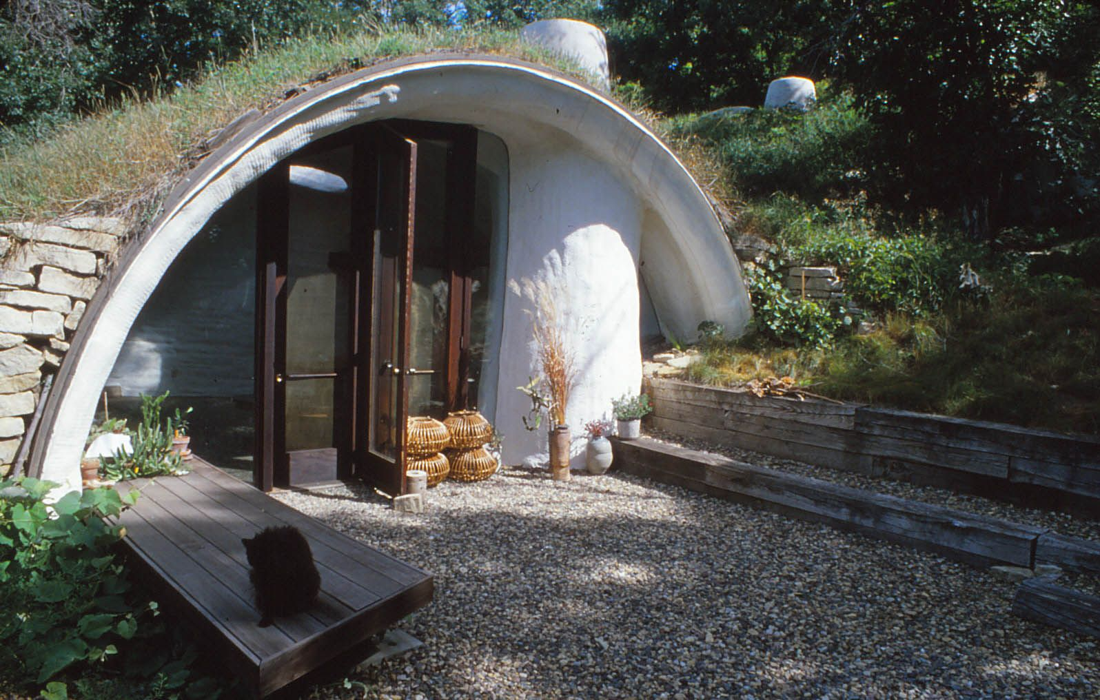Entryway to an earth-sheltered dome house