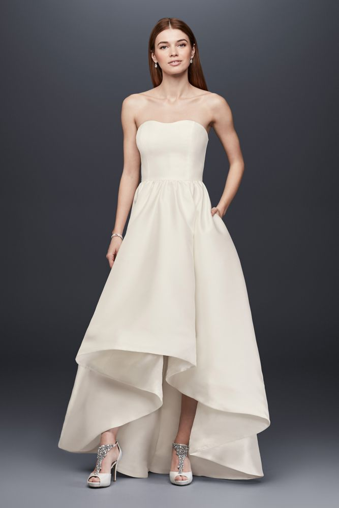 Short Mikado High-Low Wedding Dress - Ivory, 2