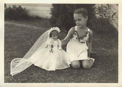 1947 girl with bride doll.