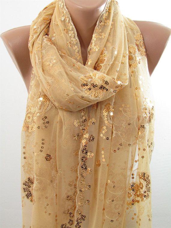 Gold Scarf Shawl Sparkle Scarf Metallic Gold Wrap by ...