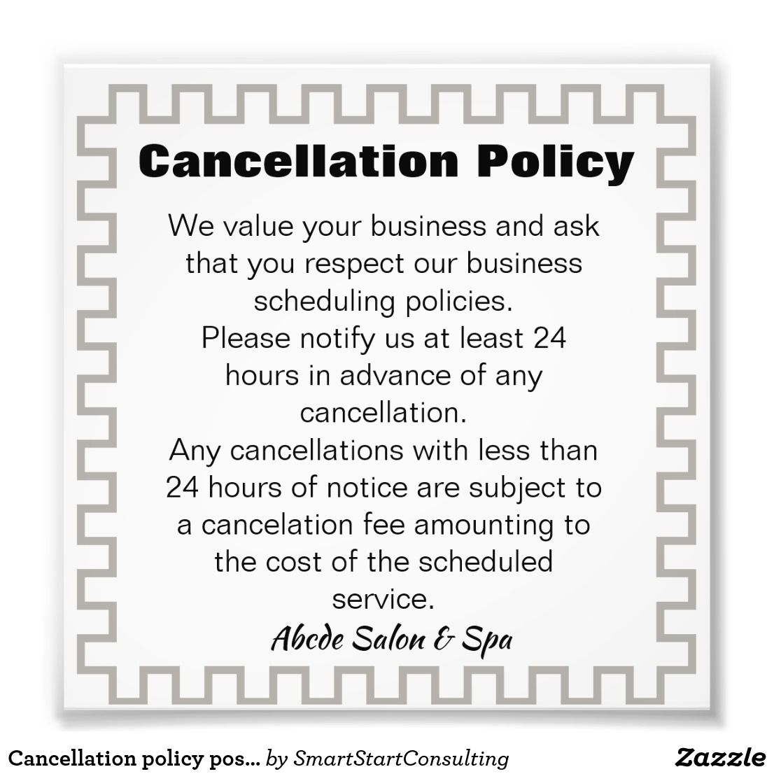 Cancellation Policy Poster Ad Reduce No Show Or Last Minute