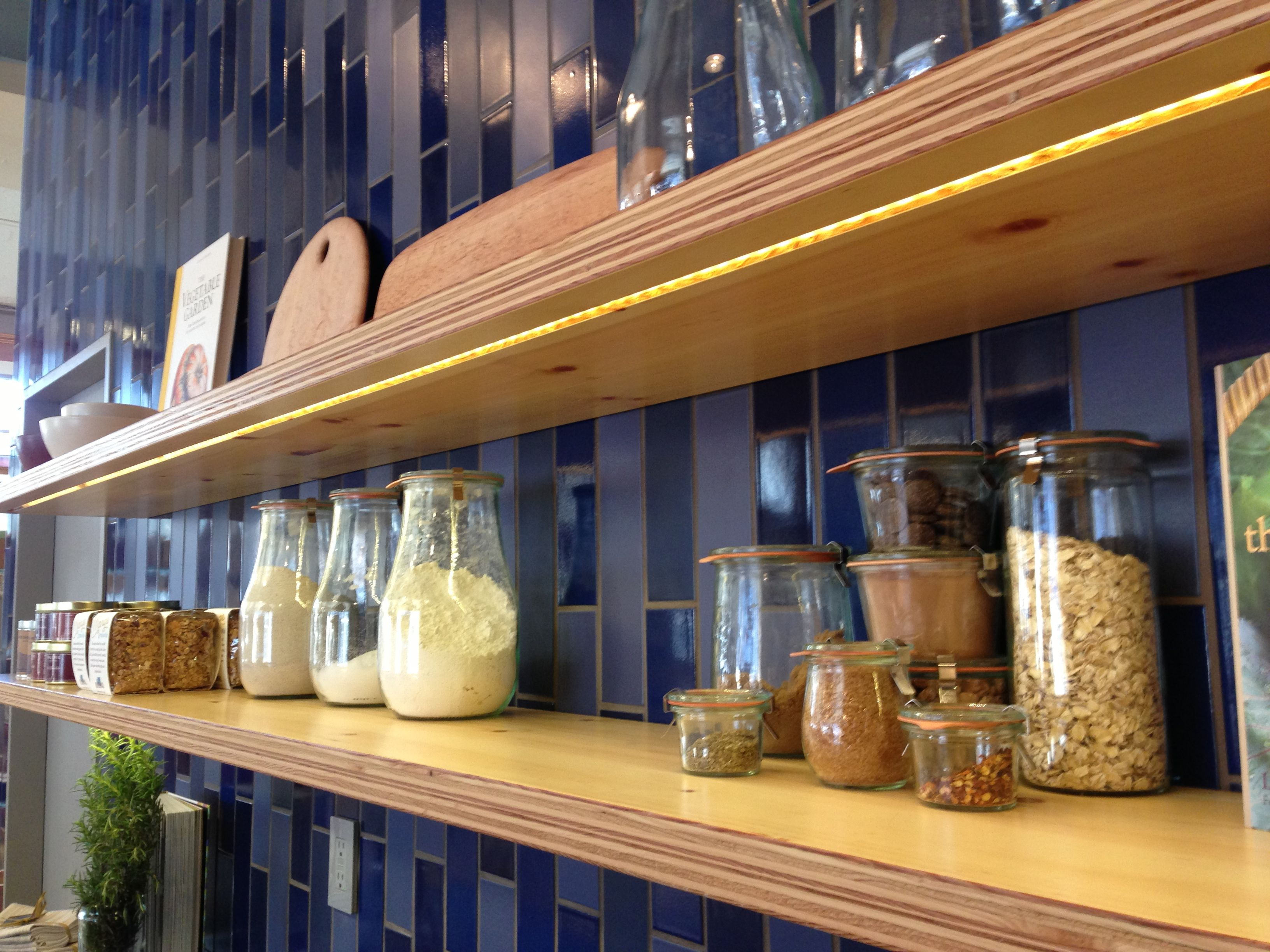 Plywood Shelving With Led Strip Lighting Plywood Kitchen Kitchen Renovation Kitchen Inspirations