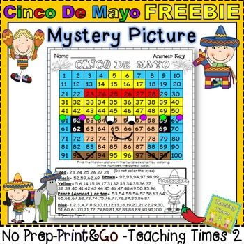 Hundreds Chart Mystery Picture 41: Cinco De Mayo Hundreds Charts Mystery Pictures Freebie Just listed ,Chart