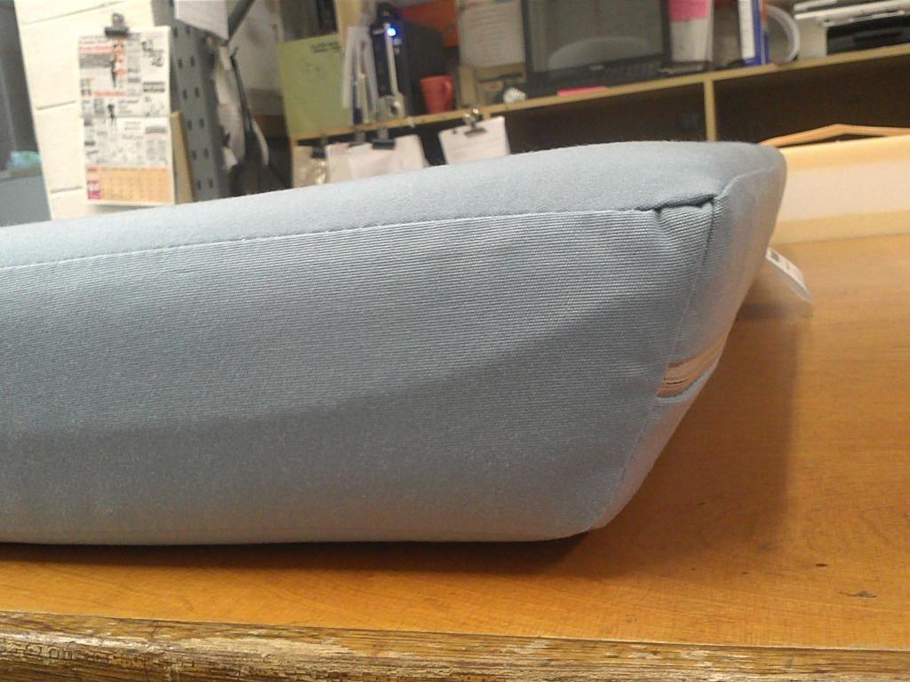 Outdoor Foam Cushion In Sunbrella Mineral Blue Fabric #gardenseating  #outdoorcushion #benchcushion