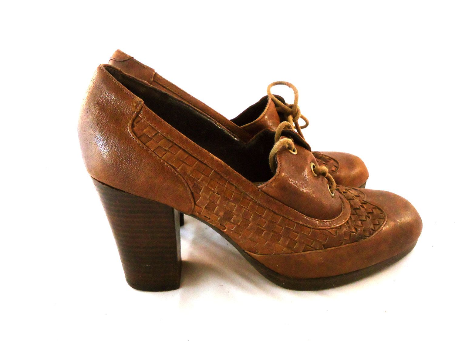 7ca99bfbbe96 Jeffrey Campbell Cognac Leather Lace Up Wing Tip Loafer Brogues w  Braided  Cognac Leather Chunky Stacked Wood Heels Shoes Size 8.5M 39 by aintweswank  on ...
