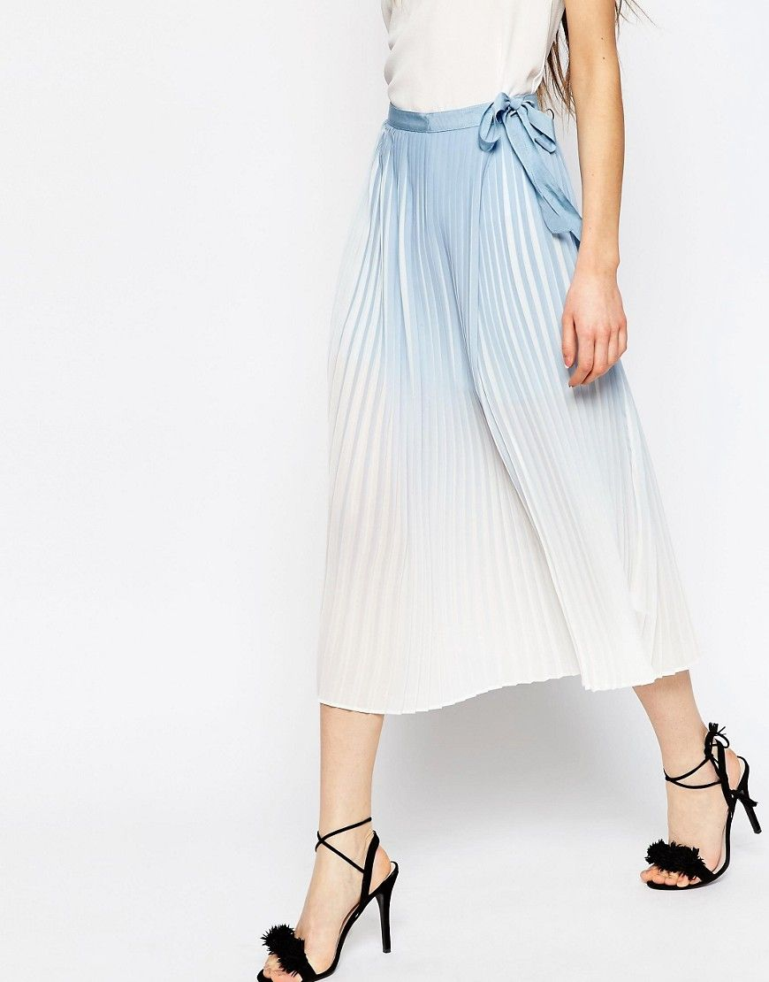 ASOS Pleated Midi Wrap Skirt in Ombre Print