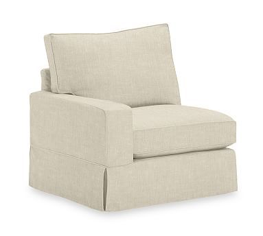 PB Comfort Square Arm Slipcovered Left Arm Chair, Box Edge, Down Blend Wrapped Cushions, Washed Grainsack Flax