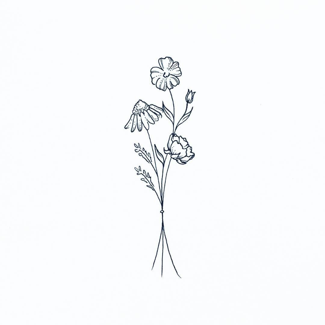39 Likes 6 Comments Dylan Morton Wolfwednesdays On Instagram A Little Wildflower Bouquet Ar Line Drawing Tattoos Wildflower Tattoo Wildflower Drawing