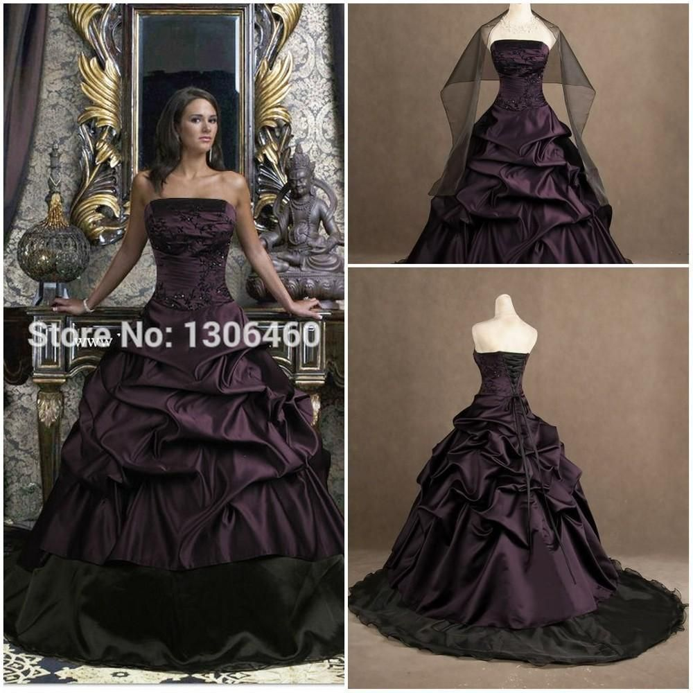Purple And Black Real Picture Ball Gown Wedding Dress Victorian Gothic Princess Taffeta Strapless Bridal Gown Vestidos De Novia From Sunshinepromdress 165 83 Simple Bridal Dresses Victorian Wedding Dress Purple Wedding Dress [ 1000 x 1000 Pixel ]