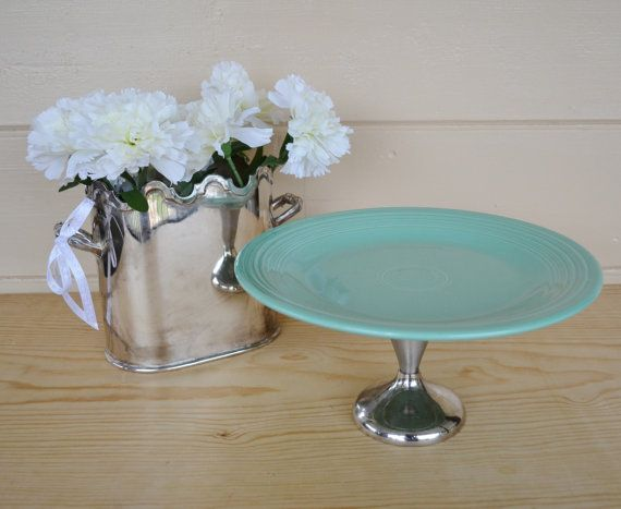 Turquoise Fiestaware Cake plate Cake Stand by JudysJunktion $40.00 & Turquoise Fiestaware Cake plate Cake Stand by JudysJunktion $40.00 ...