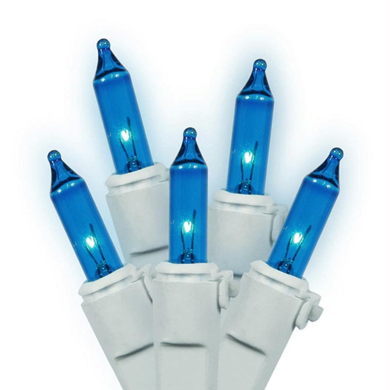 Set of 100 Blue Mini Christmas Lights - White Wire