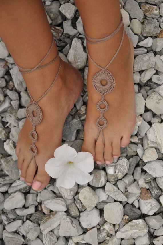 Crochet Tan Barefoot Sandals, Brown Nude shoes,Wedding foot jewelry ...