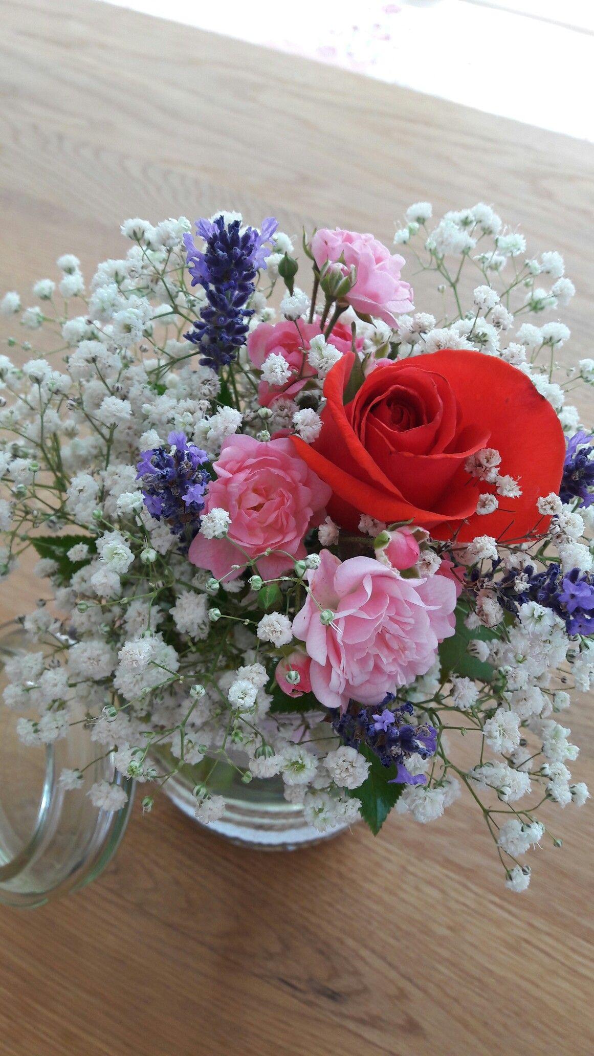 Schleierkraut Rose Lavendel Tischdeko Selbst Gemacht Lavendel