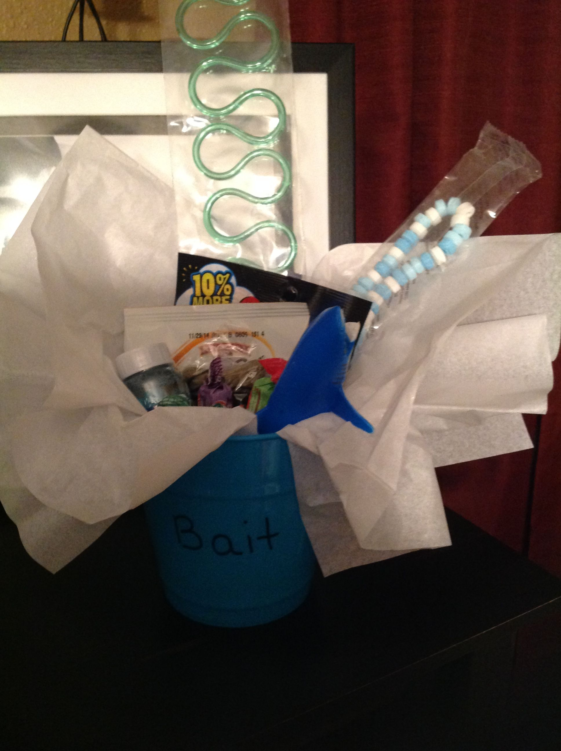 Shark Birthday Bait Bucket For Favors Includes Neon Gummy Worms Goldfish Gum Tooth Candy Necklace Toy