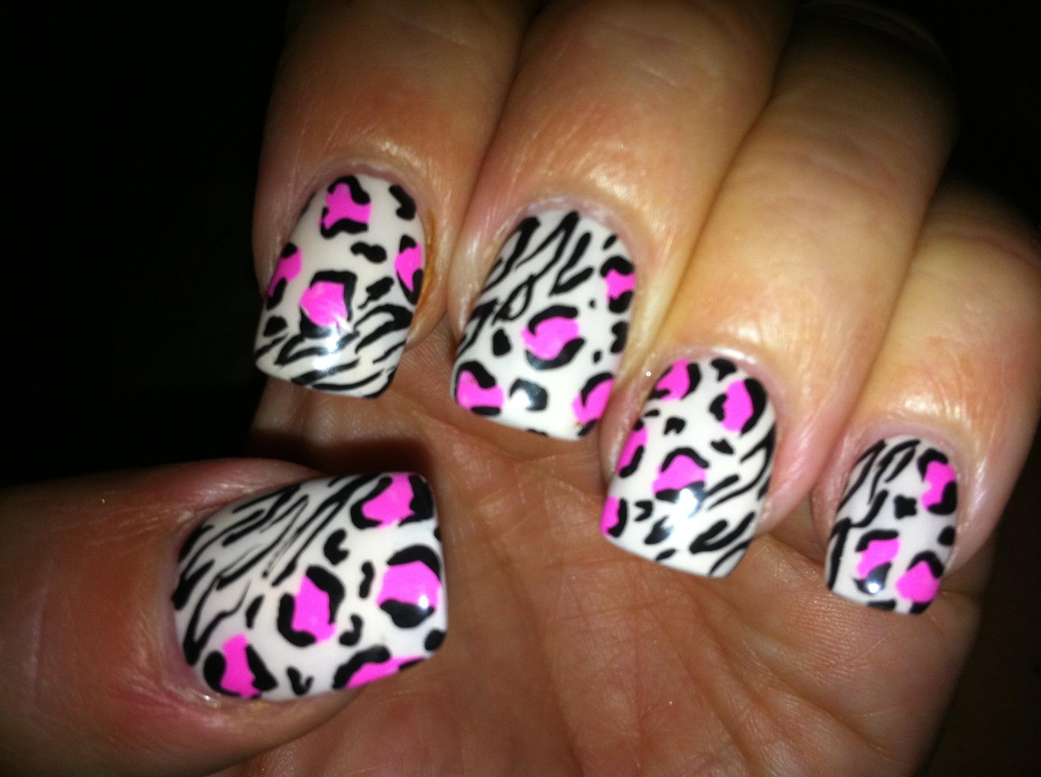 Pink zebra nails nails pinterest - Zebra And Pink Leopard Pink Leopard Nailspink