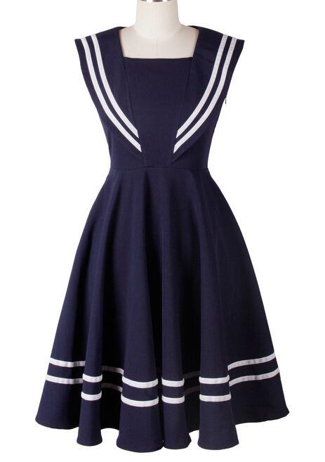 64dd299331f Pas cher 1950 s 50 s vintage rockabilly robe de marin marine bleu ...