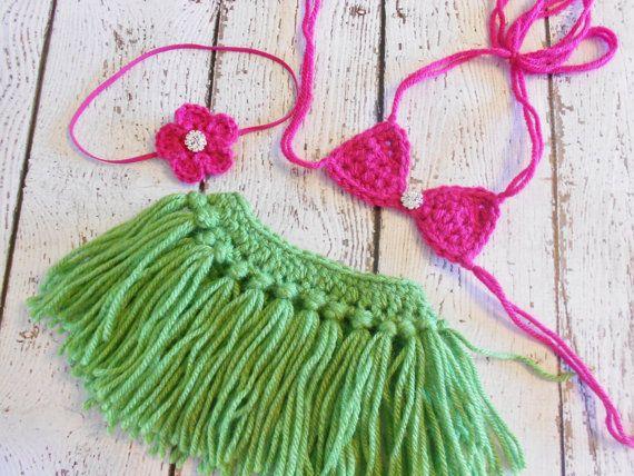 Crochet Hula Skirt Bikini Top Heaband by SweetpeasAlley on Etsy, $30.00