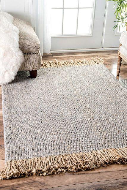 Gray Jute Rug With Fringed Edges Rugs Jute Carpet
