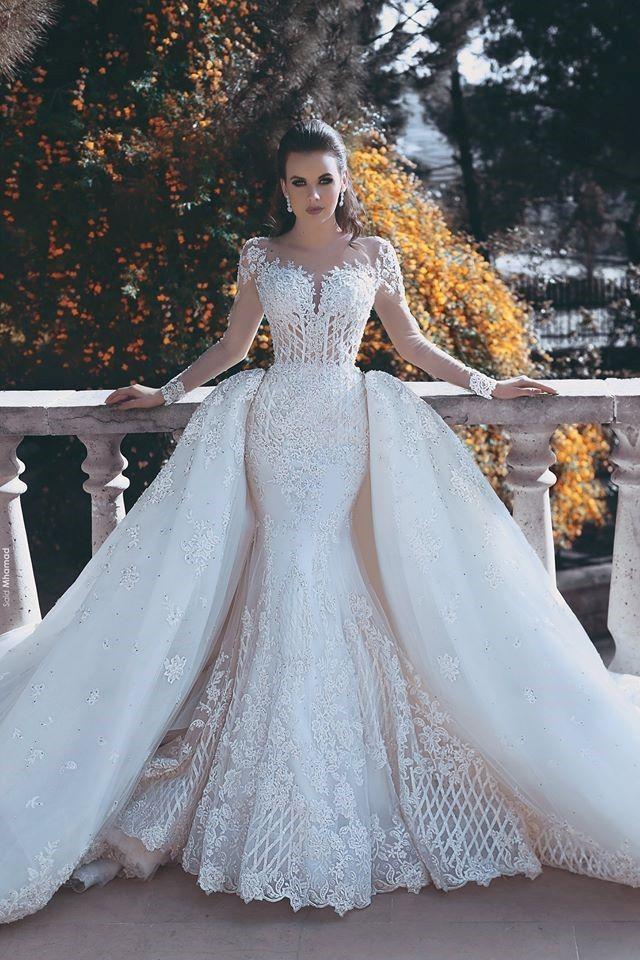 94a4f306f1f Gorgeous Long Sleeve Detachable Train White Lace Wedding Dress Wedding  Dresses 2018 Wedding Dresses Fashion Special Occasion Dresses   Wedding  Dresses On ...