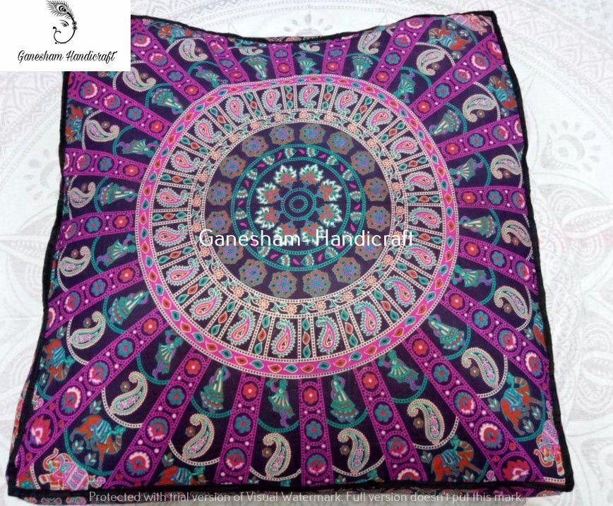 Indian Boho Tapestry Mandala Floor Pillow & Cushion Bohemian Poufs ...