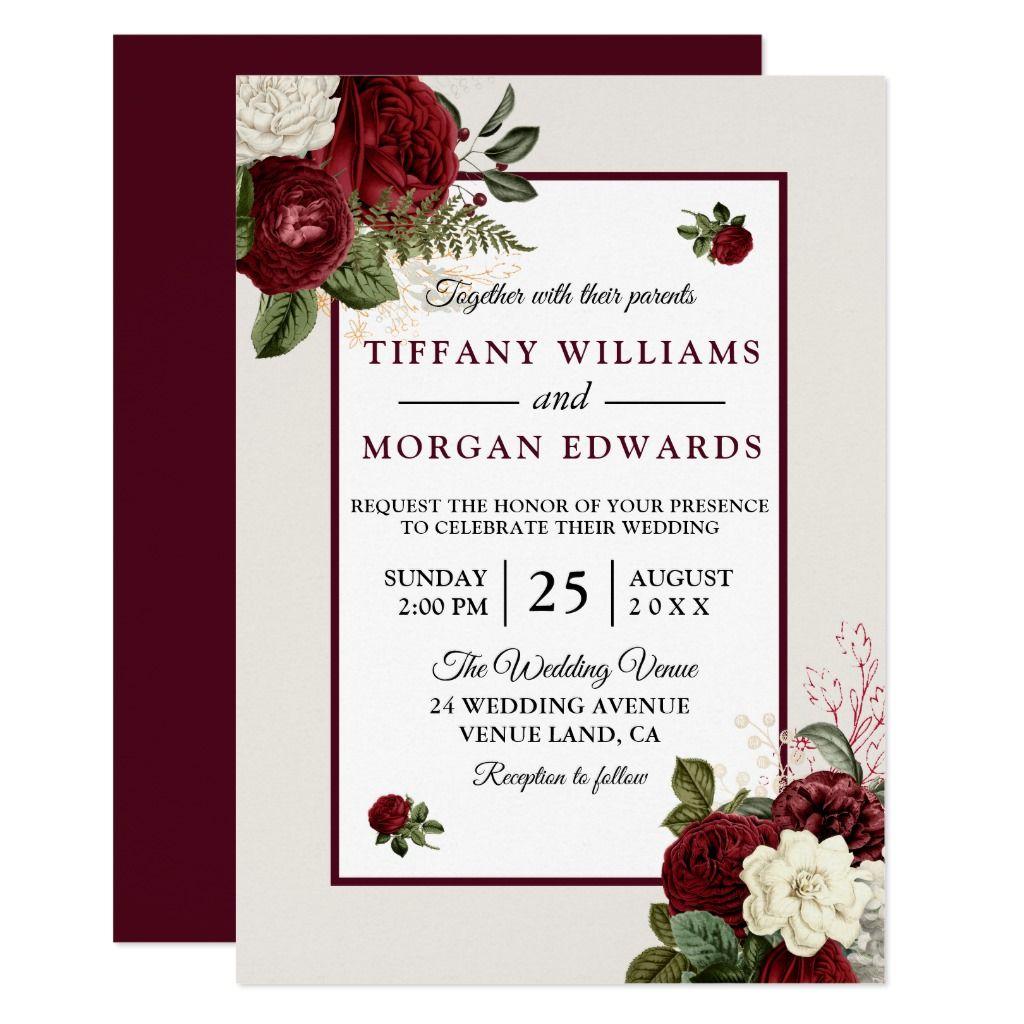 Elegant Romantic Burgundy Floral Wedding Invite Zazzle