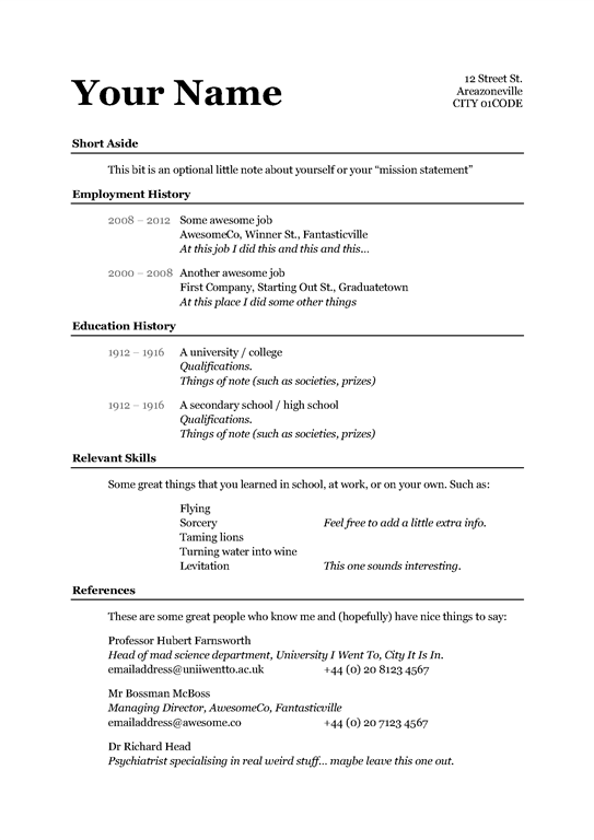 Easy And Free Resume Templates Freeresumetemplates Resume Templates Resume Template Examples Simple Resume Examples Basic Resume