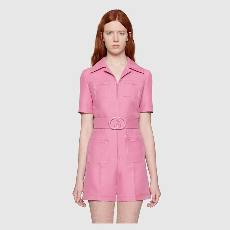 15d3e42637 Gucci - Wool silk short belted pink jumpsuit | JUMPSUITS ETC. | Silk ...
