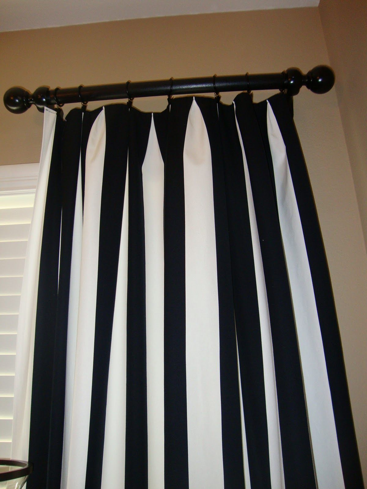 Vertical striped curtains use canvas drop cloths 9x12 for Black and white curtain designs