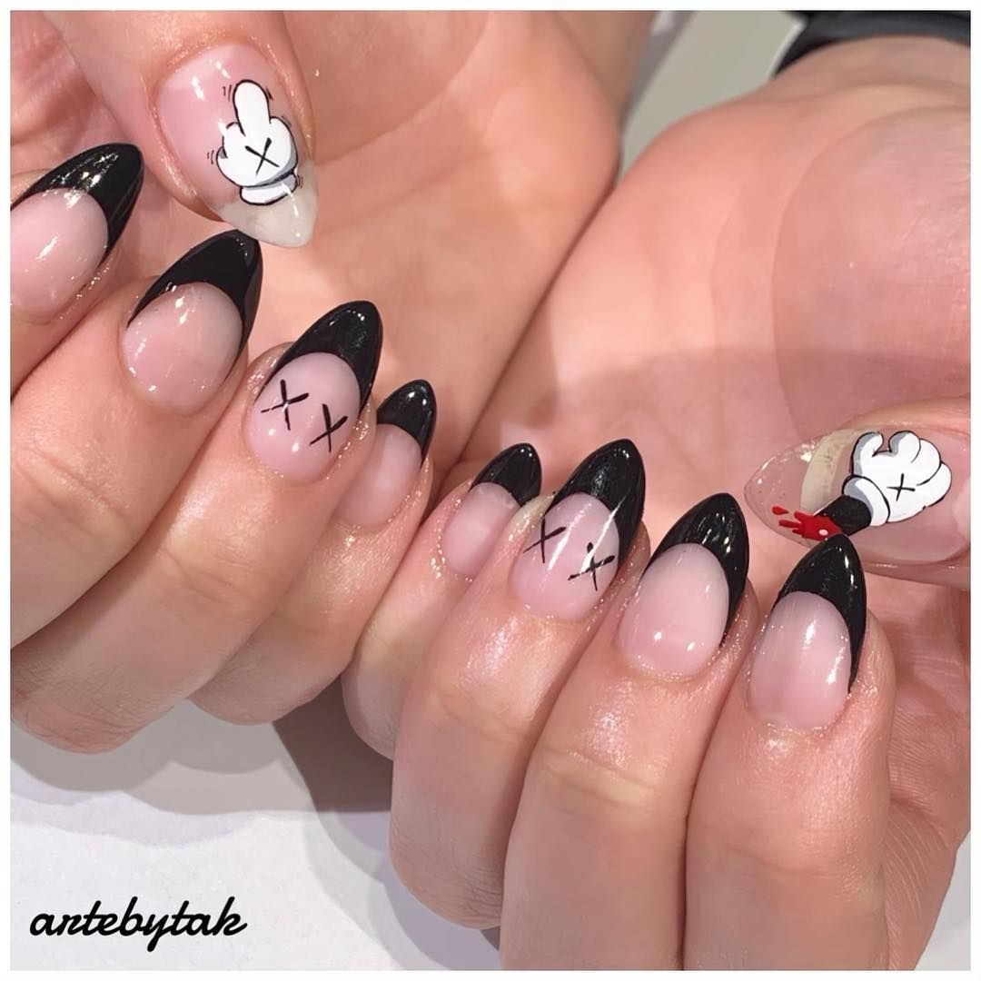 Tak On Instagram Kaws Kaws X Disney All Handpainted Artebytak Nailart Nyc Swag Nails Nails Acrylic Nails