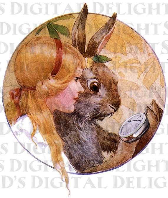 ALICE and The MaRcH HaRe. Alice in Wonderland. Vintage Illustration. Alice in WONDERLAND Vintage DIGITAL Print Download. From First Edition
