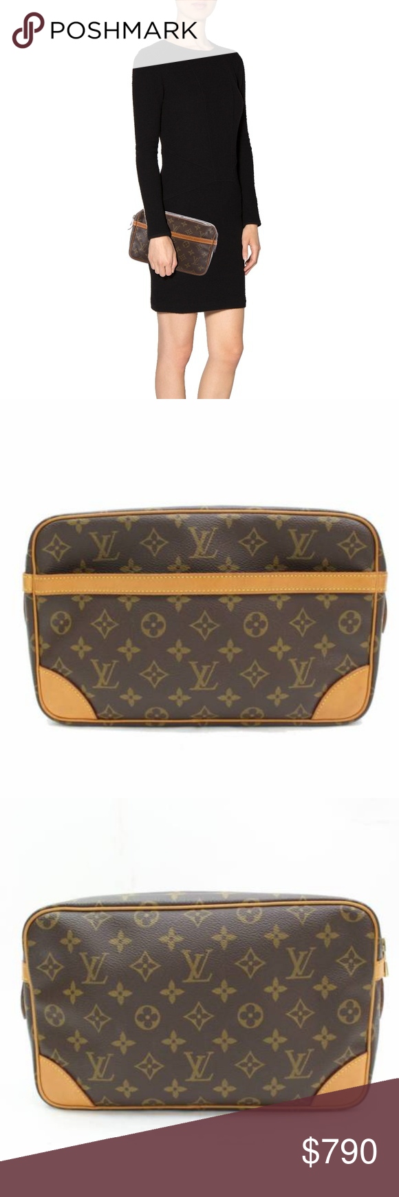 6ac6aac80 Auth Louis Vuitton Compiegne 28 Brown Monogram Authentic Louis Vuitton  Compiegne 28 clutch. Crafted in monogram coated canvas, this stylish clutch  comes in ...
