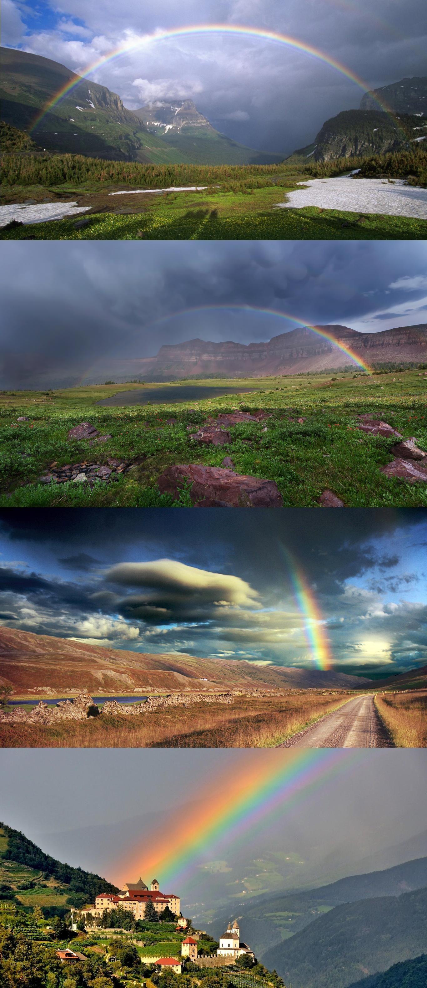 magical rainbow over mountain castle